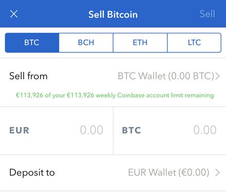 Coinbase sell BTC